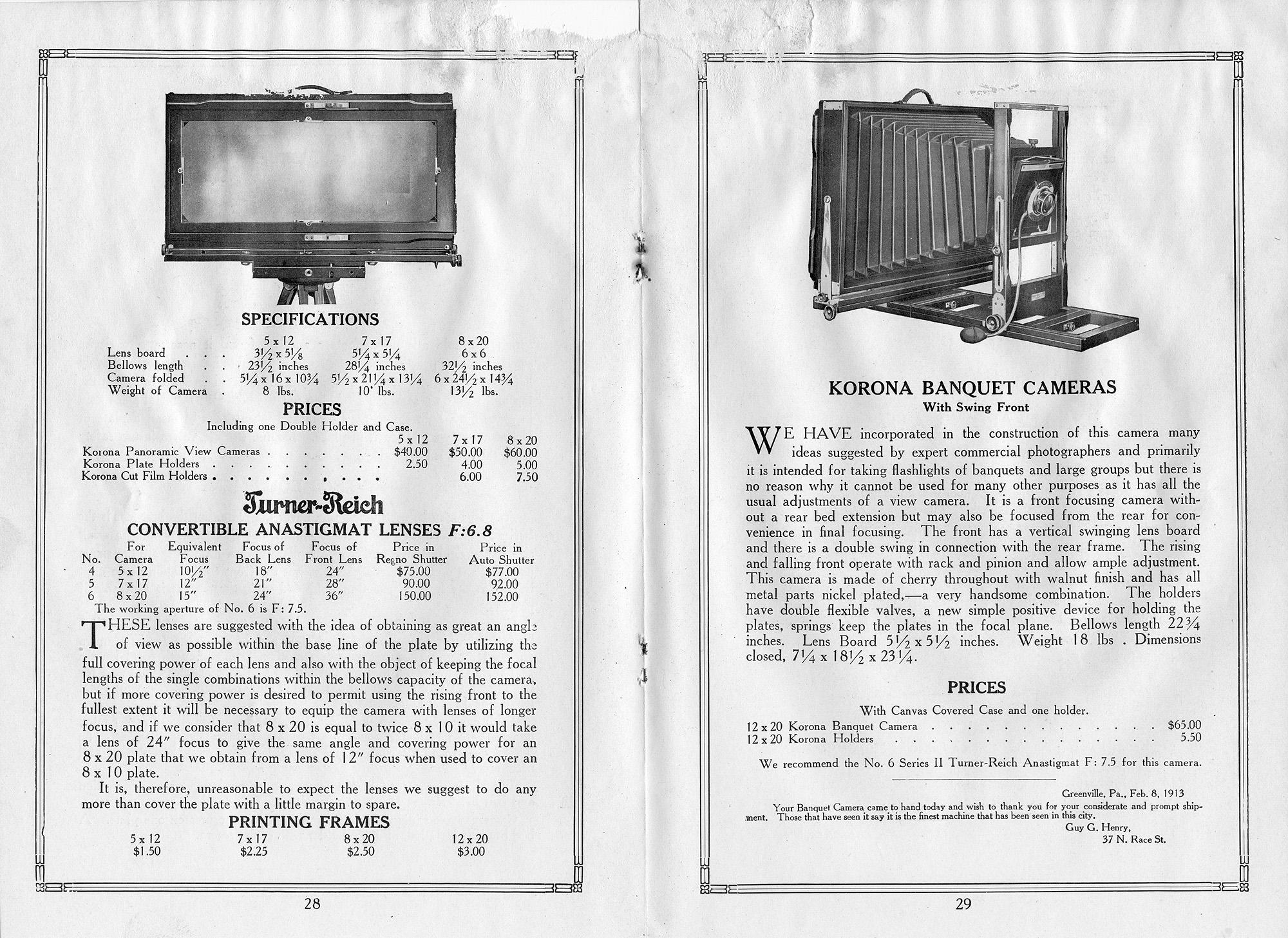 Korona Cameras, Gundlach-Manhattan Optical Co., 1915